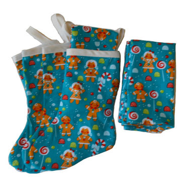 Gingerbread Holder, Utensil Holder, Fabric Stocking, Place Setting, Fabric Napkin, Holiday Decor, Table Decoration, Party Supply, Christmas