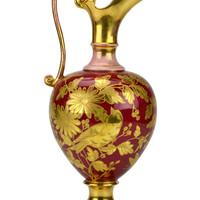 Vermillion Red and Gold Flower Jug Antique English 19th Century