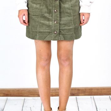 Button It Skirt w/ Pockets {Olive}