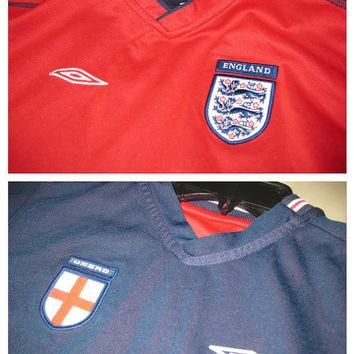 Sale!! EUC Vintage Umbro England National Team Reversible Soccer Jersey Football Shirt