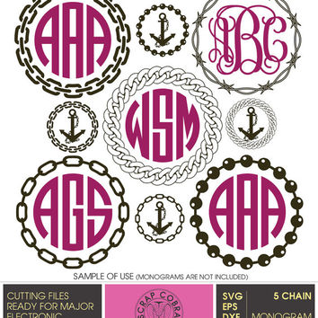 Chain Monogram Frames (SVG, eps, DXF, PNG) Digital Cut Files for Silhouette, Cricuit electronic cutting machines, embroidery - cv-428