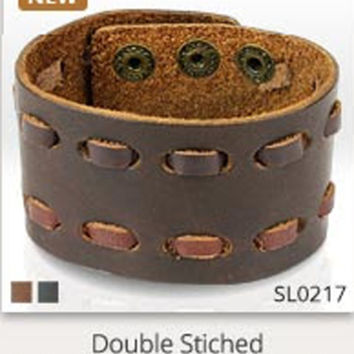 Double Stitched Brown Leather Bracelet