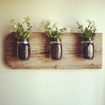 $49.00 Mason Jar Wall Planter by chateaugerard on Etsy