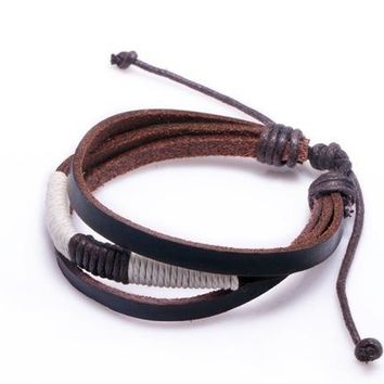 Alibaba Express Fashion Wrap Hemp Rope Leather Braided Rope Bracelet Black and Brown for Men Fashion Man Jewelry PI0256