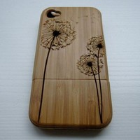Dandelion natural bamboo hard cover case for iphone 4/4s