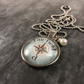Fairfield CT Compass Pendant with Hand Wrapped Bead 24-in