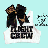 "Gold & Black ""Flight Crew"" Sports Bra and Bow - Perfect for any Flyer"