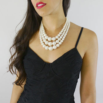 Vintage White Beaded Necklace -  Three Strand Faux Pearl Costume Jewelry / Mid Century Beads