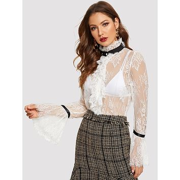 Flounce Sleeve Lace Sheer Top Without Bra