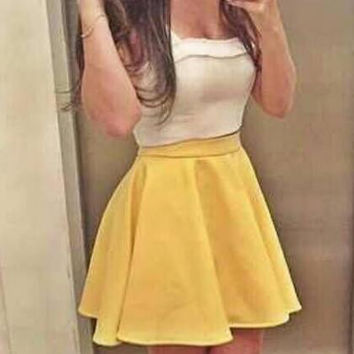 SLEEVELESS MINI DRESS YELLOW WHITE DRESS