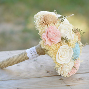 Something Blue Bridal Bouquet Sola Flowers and dried Flowers Medium Size PInk Tan Ivory