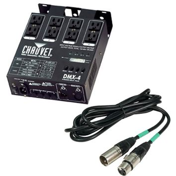 Chauvet 4 Channel DJ Controller +  DJ 25 Foot Male to Female Lighting Cable