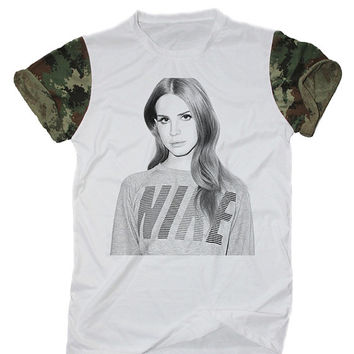 Lana Del Rey Pop T-Shirt White Camo Camouflage Indie Rocker Hipster Shirt Size S M L