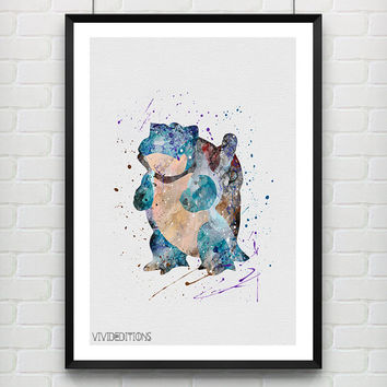 Blastoise Pokemon Watercolor Poster, Kids Watercolor Art Print, Boy's Room Wall Art, Kids Decor, Not Framed, Buy 2 Get 1 Free! [No. 1-1]