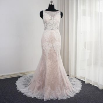 Sleeveless Mermaid Blush Wedding Dresses Appliqued Low Back Unique Design Sexy Bridal Gown