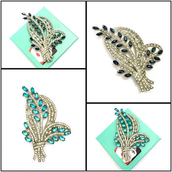 Art Deco Nouveau Floral Brooch, 1 of 2,  Huge Statement Brooch, Pot Metal, Sapphire Blue or Aqua Marquise Ice Chaton Rhinestones, Vintage