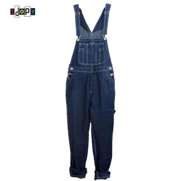 Men`s Loose Plus Size Denim Bib Overalls Men Multi Pockets Washed Vintage Oversized Jumpsuits For Men Big and Tall