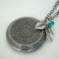 Silver Floral Locket Necklace, Wedding, Large Round Light Weight, Vintage Inspired, Long Chain - Adrian