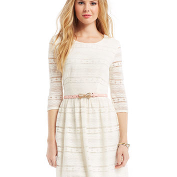 City Studios Juniors' Lace Belted Dress