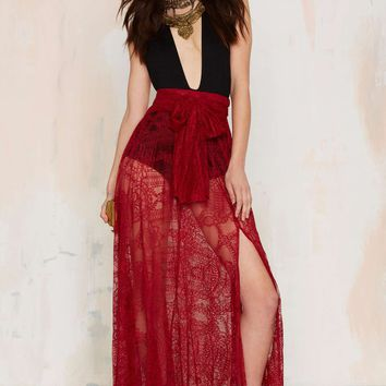 Just in Lace Maxi Skirt - Burgundy