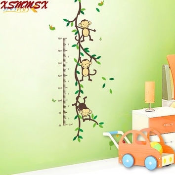 150cm Cartoon tree Monky children baby height growth chart measure wall stickers for kids room nursery decal birthday gift SM6