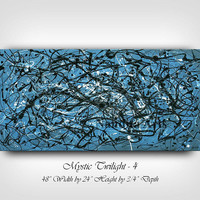 "Original Large Jackson Pollock style Modern art, wall art, blue, art on canvas painting 48"" oil string paintings, home decor by Nandita"