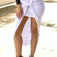 Knotty Satisfaction High-Low Skirt- Ivory