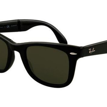 Ray Ban RB4105 Folding Wayfarer Sunglasses Glossy Black Frame Gr
