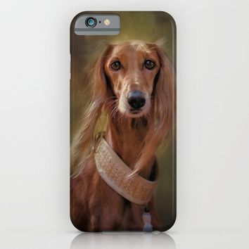 Saluki Portrait Of The Ancient Hound iPhone & iPod Case by Theresa Campbell D'August Art