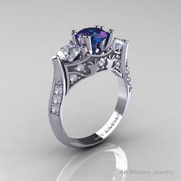 Nature Inspired 14K White Gold Three Stone Russian Chrisoberyl Alexandrite White Topaz Diamond Solitaire Wedding Ring Y230-14KWGDWTAL
