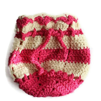 Crochet Gift Bag - Handmade Pouch - Jewelery Bag With Drawstring