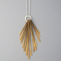 Handmade jewelry. Brass and sterling silver feather necklace.