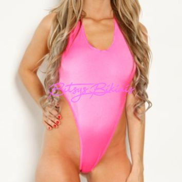 Monokini G-String - Solid Neon Pink
