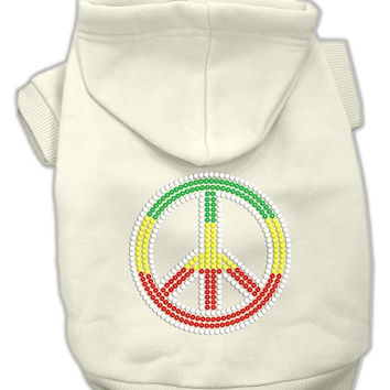 Rasta Peace Sign Hoodie Cream XXL (18)