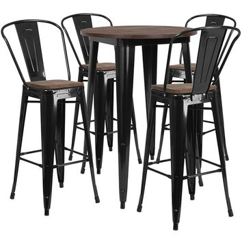 """30"""" Round Black Metal Bar Table Set with Wood Top and 4 Stools [CH-WD-TBCH-25-GG]"""
