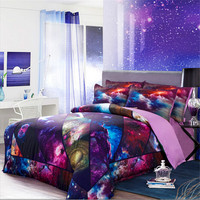 4pcs Purple Star Wars Galaxy Sky Bedding Set 3D Patchwork Quilt Duvet Cover Sets /Bed Sheets King Queen Size 150cm 180cm Linen