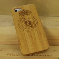 Real Madrid CF Natural Bamboo Wood Hard Cover Case Protective Shell for iPhone 5 5G Style 2