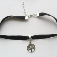"Velvet choker necklace with tree of life pendant and a width of 3/8""Black Ribbon Choker Necklace(pick your neck size)"