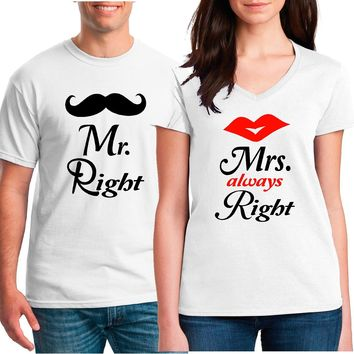 Mr. Right MRS. ALWAYS Right Couple Shirts | Our T Shirt Shack