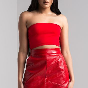AKIRA Crackled A Line Pleather Mini Skirt in Red