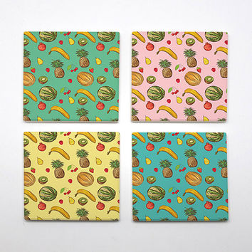 COA-011 - Set of 4 Ceramic Coasters - Summer Pineapple - Colorful Prints - Colorful Art - Pastel theme - by HeartOnMyFingers