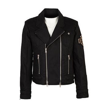Balmain Mens Black Crown Badge Denim Biker Jacket