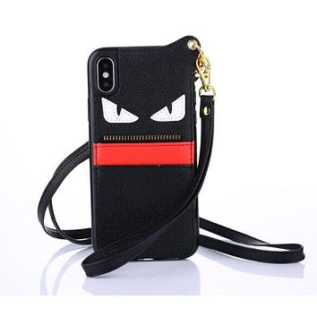 FENDI Hot ! Popular Mobile Phone Shell Phone Cover Case For iphone 6 6s 6plus 6s-plus 7 7plus 8 8plus X +Hang Rope Black(White Eyes)