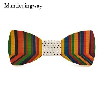 Colorful Mens Wood Bowtie Casual Handmade Wooden Bow Tie For Grooms Bowknots Collar Gravatas Cravat Ties