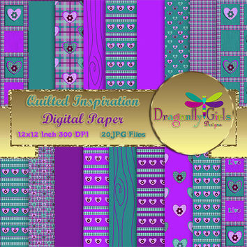 80% OFF Sale Quilted Inspiration, commercial use, digital scrapbook papers, vector graphics, printable,Instant Download