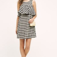 Sunday in Brooklyn Ruffled Gingham Shift in Black & White Size: