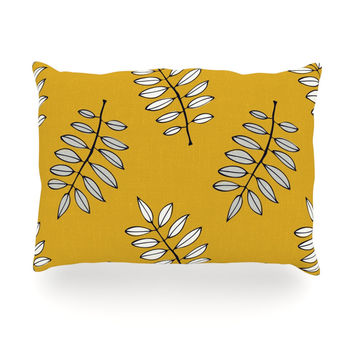 "Laurie Baars ""Pagoda Leaf Gold"" Orange Leaves Oblong Pillow"