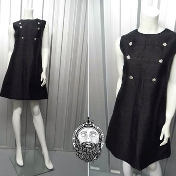 Vintage 60s LOUIS FERAUD Silk Dupioni Black Shift Dress Mod Mini Diamante Button Double Breasted Space Age A Line Dress 1960s Gogo LBD Dress