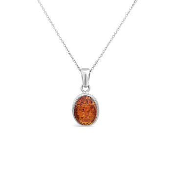 Sterling Silver Pendant with Amber Stone - Round Amber Necklace - Amber Pendant - Amber Jewellery - Womens Necklace Pendant - Gift for Her