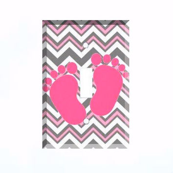 Light Switch Cover - Light Switch Plate Pink Baby Feet Chevron